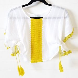 Cotton Crop Top With Tassels and Poms
